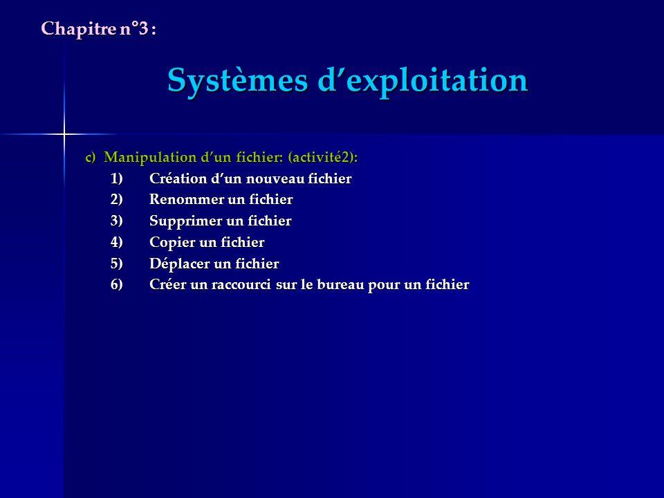 Systèmes dexploitation c) Manipulation dun fichier: (activité2): c) Manipulation dun fichier: (activité2): 1)Création dun nouveau fichier 2)Renommer u