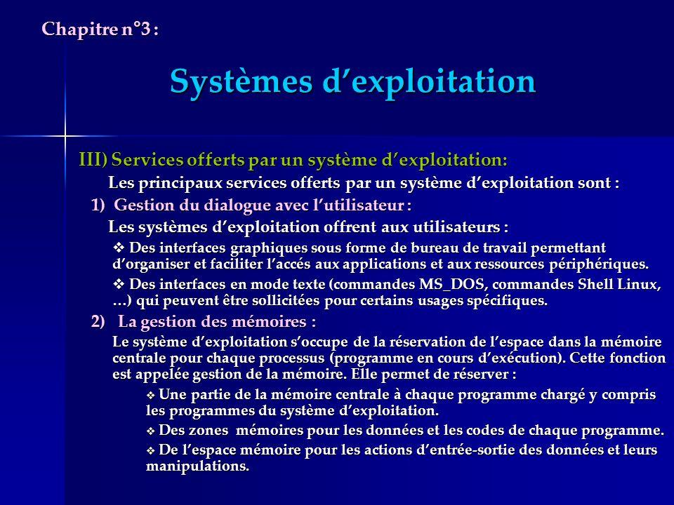 Systèmes dexploitation III) Services offerts par un système dexploitation: Les principaux services offerts par un système dexploitation sont : Les pri