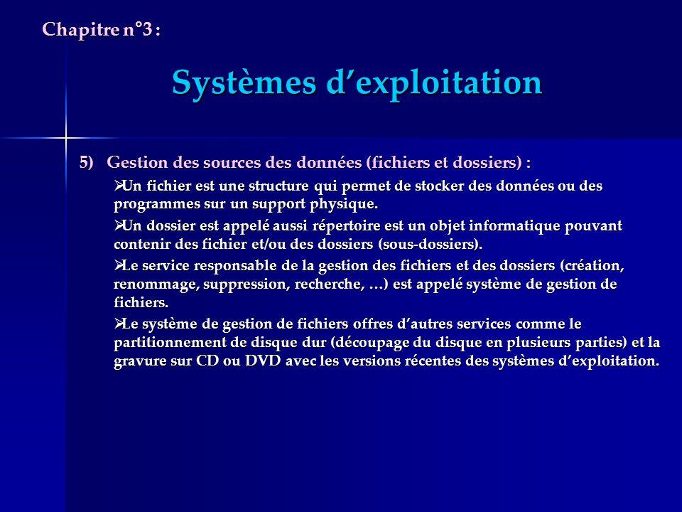 Systèmes dexploitation 5) Gestion des sources des données (fichiers et dossiers) : Un fichier est une structure qui permet de stocker des données ou d