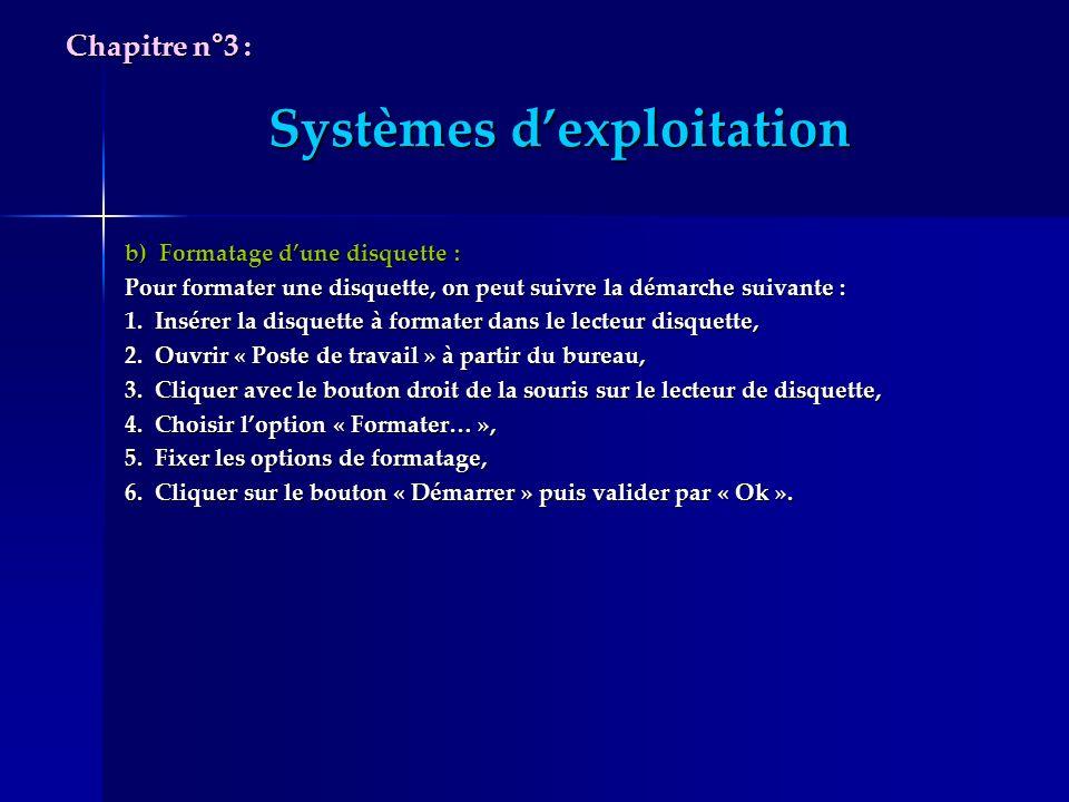 Systèmes dexploitation b) Formatage dune disquette : Pour formater une disquette, on peut suivre la démarche suivante : 1. Insérer la disquette à form