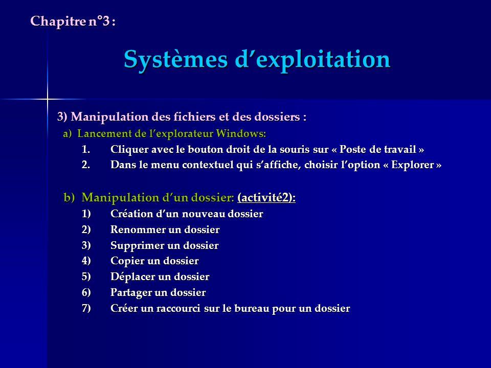 Systèmes dexploitation 3) Manipulation des fichiers et des dossiers : a) Lancement de lexplorateur Windows: a) Lancement de lexplorateur Windows: 1.Cl