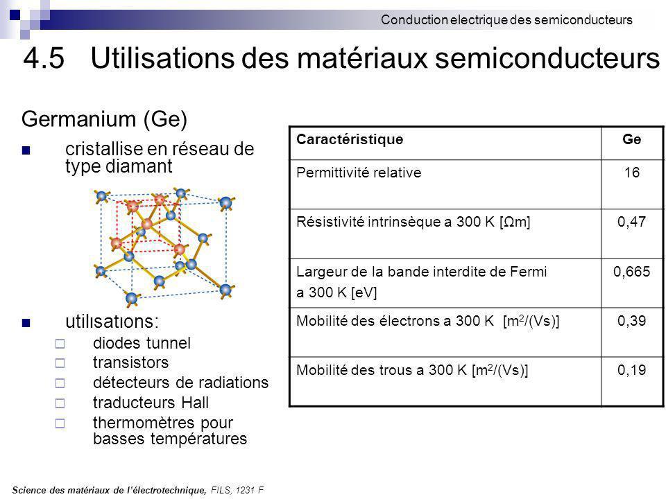 Science des matériaux de lélectrotechnique, FILS, 1231 F Conduction electrique des semiconducteurs Germanium (Ge) cristallise en réseau de type diamant utilisations: diodes tunnel transistors détecteurs de radiations traducteurs Hall thermomètres pour basses températures CaractéristiqueGe Permittivité relative16 Résistivité intrinsèque a 300 K [Ωm]0,47 Largeur de la bande interdite de Fermi a 300 K [eV] 0,665 Mobilité des électrons a 300 K [m 2 /(Vs)]0,39 Mobilité des trous a 300 K [m 2 /(Vs)]0,19 4.5Utilisations des matériaux semiconducteurs