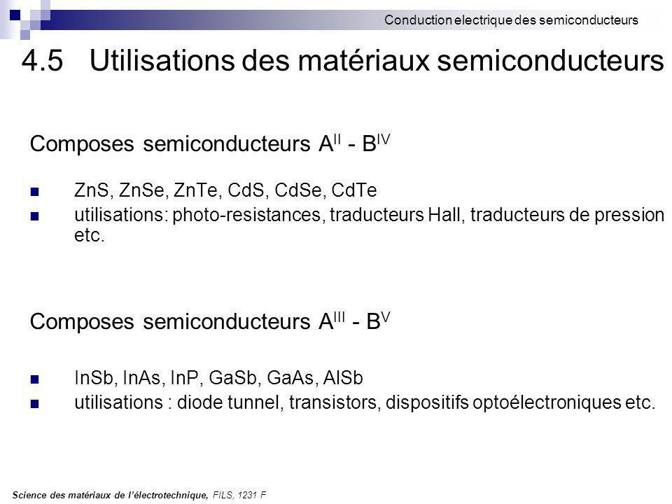Science des matériaux de lélectrotechnique, FILS, 1231 F Conduction electrique des semiconducteurs 4.5Utilisations des matériaux semiconducteurs Composes semiconducteurs A II - B IV ZnS, ZnSe, ZnTe, CdS, CdSe, CdTe utilisations: photo-resistances, traducteurs Hall, traducteurs de pression etc.