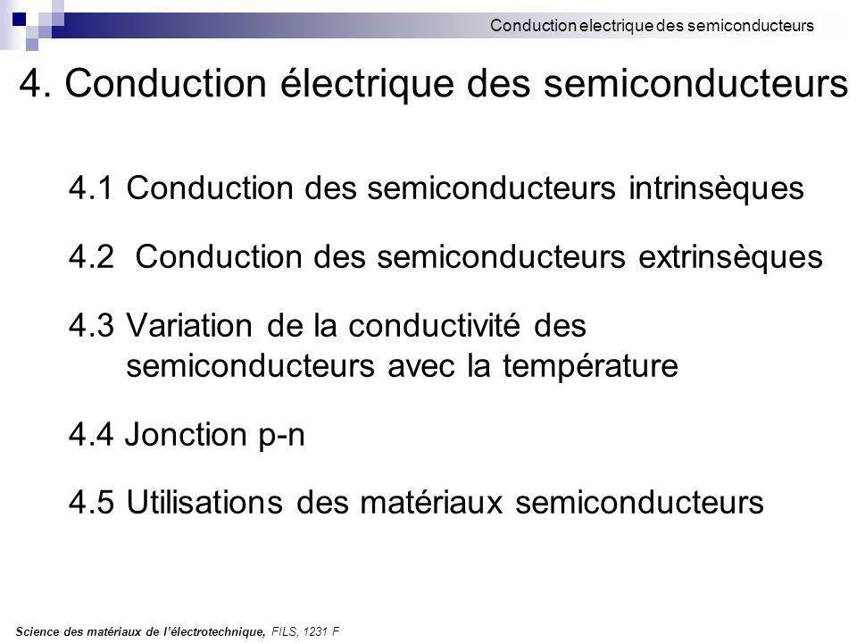 Science des matériaux de lélectrotechnique, FILS, 1231 F Conduction electrique des semiconducteurs 4.