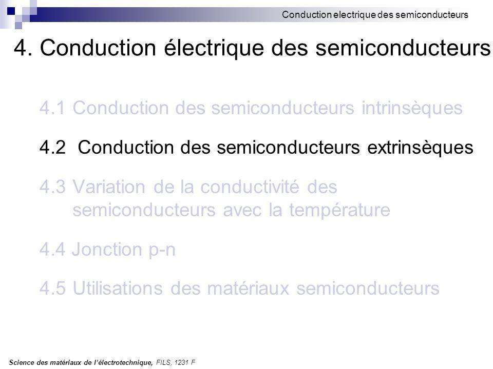 Science des matériaux de lélectrotechnique, FILS, 1231 F Conduction electrique des semiconducteurs 4.5Utilisations des matériaux semiconducteurs Sélénium (Se) présente une grande variété détats allotropiques: vitreux, amorphe, cristallin.