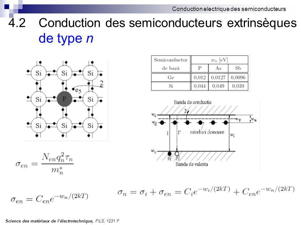 Science des matériaux de lélectrotechnique, FILS, 1231 F Conduction electrique des semiconducteurs 4.2 Conduction des semiconducteurs extrinsèques de type n