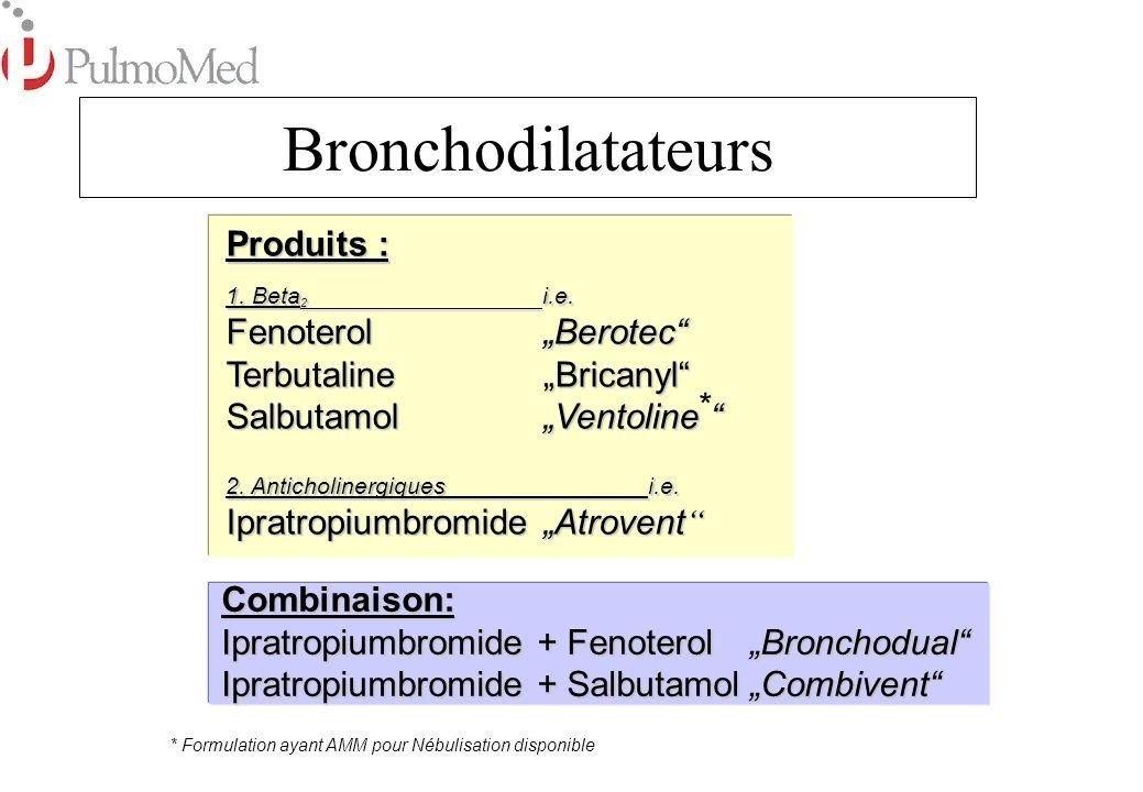 Mucofluidifiants Fluidifiants Bronchiques Effet : Décroche le Mucus Décroche le Mucus Améliore le Nettoyage Mucociliaire Améliore le Nettoyage Mucociliaire Utilisation : Mucoviscidose Mucoviscidose Bronchite obstructive chronique Bronchite obstructive chronique