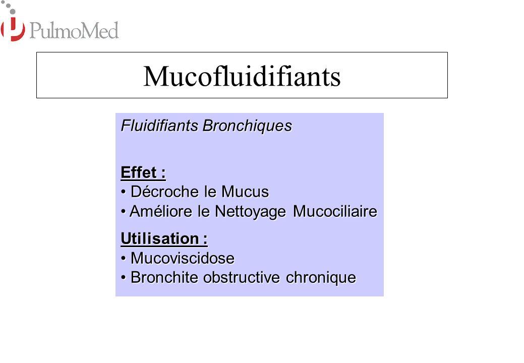 Produits: AmbroxolSurbronc BromhexinBisolvon N-Acetylcystein, Fluimucil Mucomyst Dornase Alfa Pulmozyme (dNase) Sérum Physiologique (NaCl) 0,9% Sérum salé hypertonique 3% et 6% Mucofluidifiants