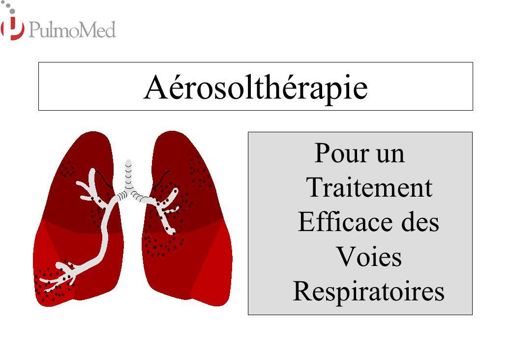 Indications pour lAérosolthérapie Voies Respiratoires Inférieures: Asthme Asthme Bronchite Aiguë ou Chronique Bronchite Aiguë ou Chronique Mucoviscidose Mucoviscidose Pneumonie Pneumonie Emphysème Emphysème