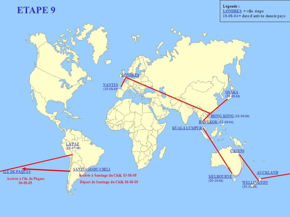ETAPE 9 Départ de Santiago du Chili, 06-08-05 NANTES (18-08-04) LONDRES OSAKA (20-08-04) HONG KONG (18-09-04) BANGKOK (21-09-04) KUALA LUMPUR MELBOURN