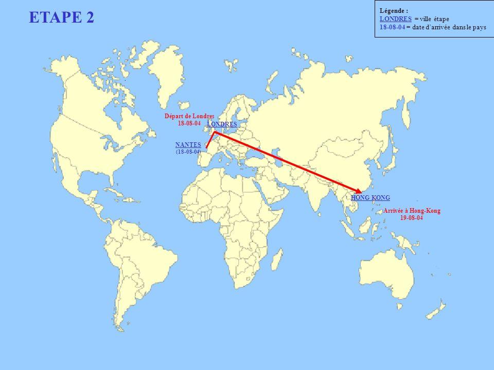 Départ de Londres 18-08-04 Arrivée à Hong-Kong 19-08-04 ETAPE 2 LONDRES NANTES (18-08-04) HONG KONG Légende : LONDRES = ville étape 18-08-04 = date da