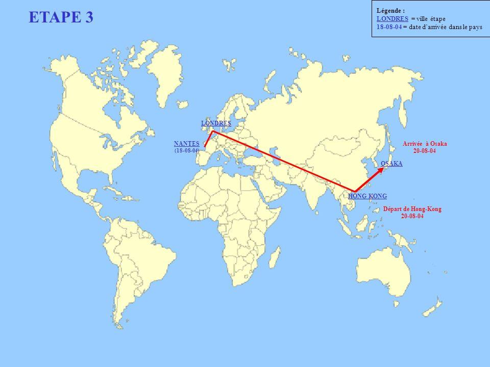 ETAPE 3 Départ de Hong-Kong 20-08-04 Arrivée à Osaka 20-08-04 LONDRES NANTES (18-08-04) HONG KONG OSAKA Légende : LONDRES = ville étape 18-08-04 = dat