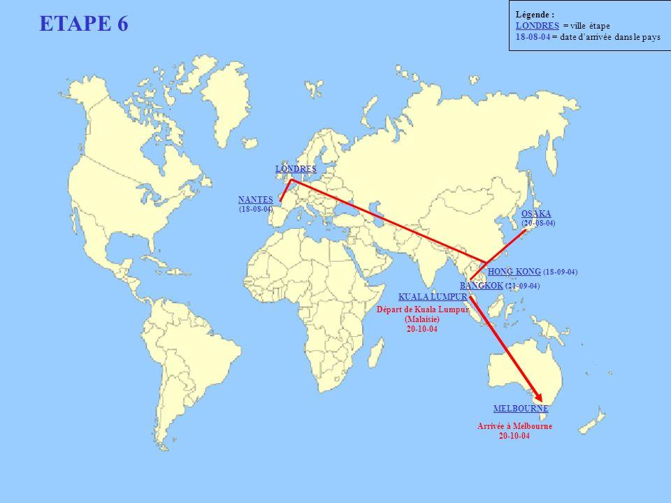 ETAPE 6 Départ de Kuala Lumpur (Malaisie) 20-10-04 Arrivée à Melbourne 20-10-04 LONDRES NANTES (18-08-04) HONG KONG (18-09-04) BANGKOK (21-09-04) KUAL