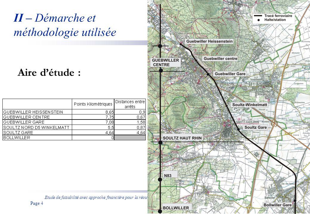 Etude de faisabilité avec approche financière pour la réouverture de la ligne ferroviaire entre Bollwiller et Guebwiller aux voyageurs Page 5 II – Démarche et méthodologie utilisée Létude de la réouverture de la ligne Bollwiller – Guebwiller a été réalisée en distinguant : -Les différents types de matériels roulants (Automoteur diesel, Tram-train ou Bus à Haut Niveau de Service), -La desserte en fonction du matériel étudié, -Le niveau de fréquence envisageable.