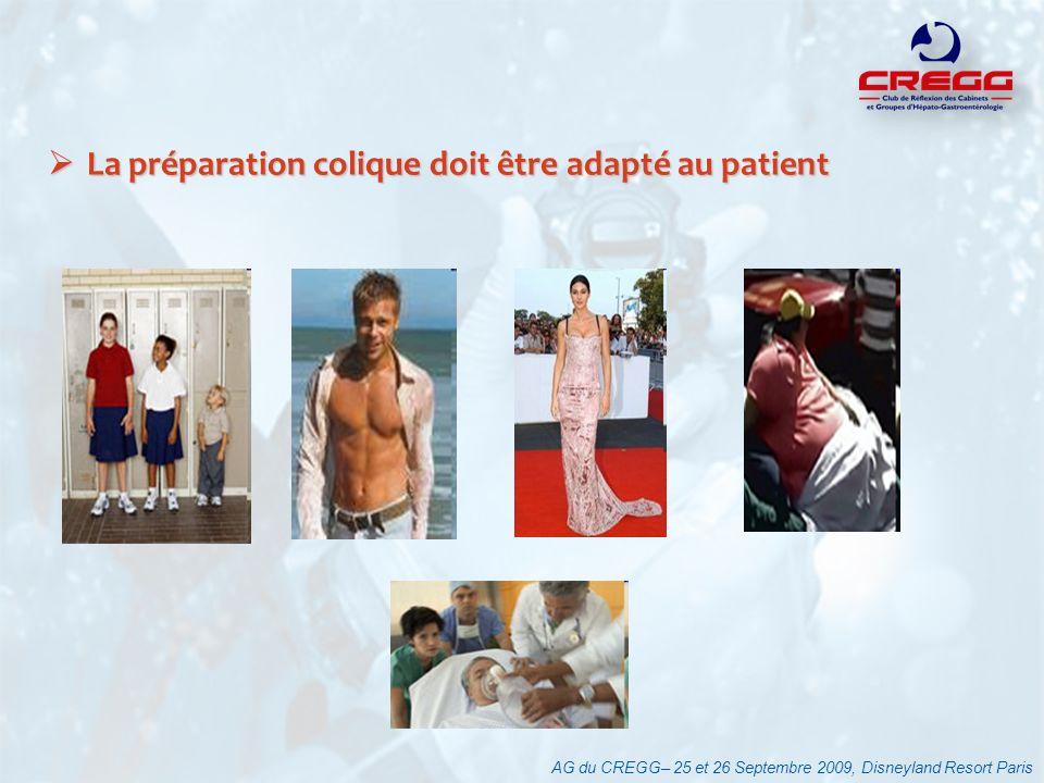 AG du CREGG– 25 et 26 Septembre 2009, Disneyland Resort Paris La préparation colique doit être adapté au patient La préparation colique doit être adap