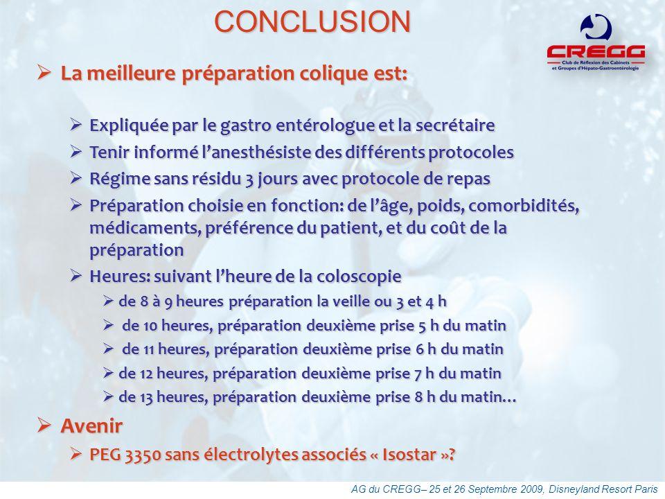 AG du CREGG– 25 et 26 Septembre 2009, Disneyland Resort Paris La meilleure préparation colique est: La meilleure préparation colique est: Expliquée pa