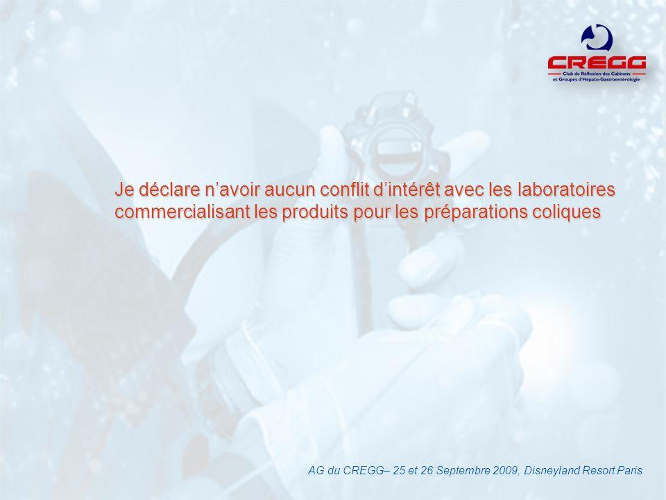 Je déclare navoir aucun conflit dintérêt avec les laboratoires commercialisant les produits pour les préparations coliques AG du CREGG– 25 et 26 Septe