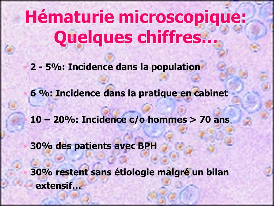 Le plus souvent hématurie microscopique accompagnée dune leucocyturie (TBC ?) Symptômes douloureux associés: dysurie, pollakiurie, douleurs suspubiennes et brûlures Si aigüe, état fébrile et prodromes Examen clinique, épreuve des « 3 verres » avec massage (sauf si aigüe) Traitement antibiotique (quinolones 4/52) et contrôle mictionnel ultérieur Hématuries: infections Prostatite