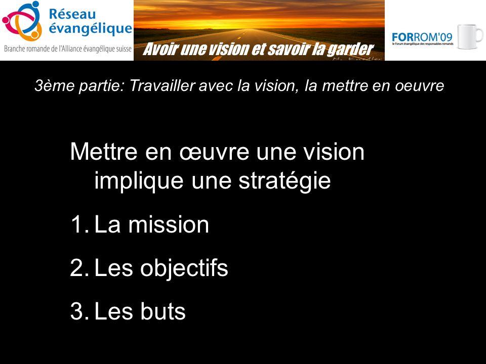 3ème partie: Travailler avec la vision, la mettre en oeuvre Avoir une vision et savoir la garder Mettre en œuvre une vision implique une stratégie 1.La mission 2.Les objectifs 3.Les buts