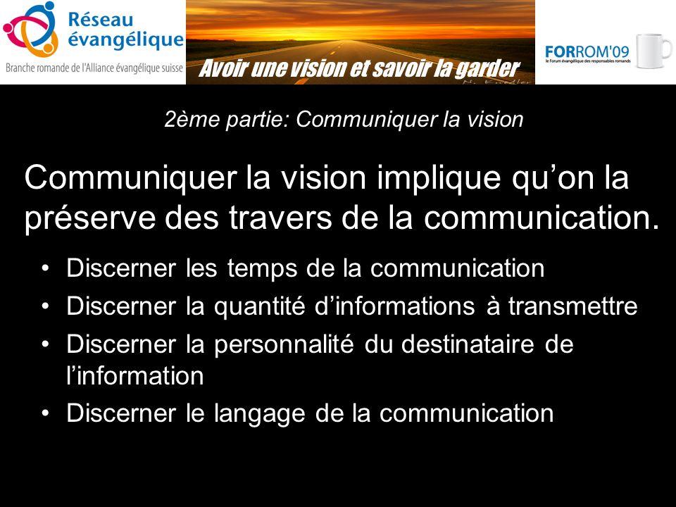 Avoir une vision et savoir la garder 2ème partie: Communiquer la vision Communiquer la vision implique quon la préserve des travers de la communication.