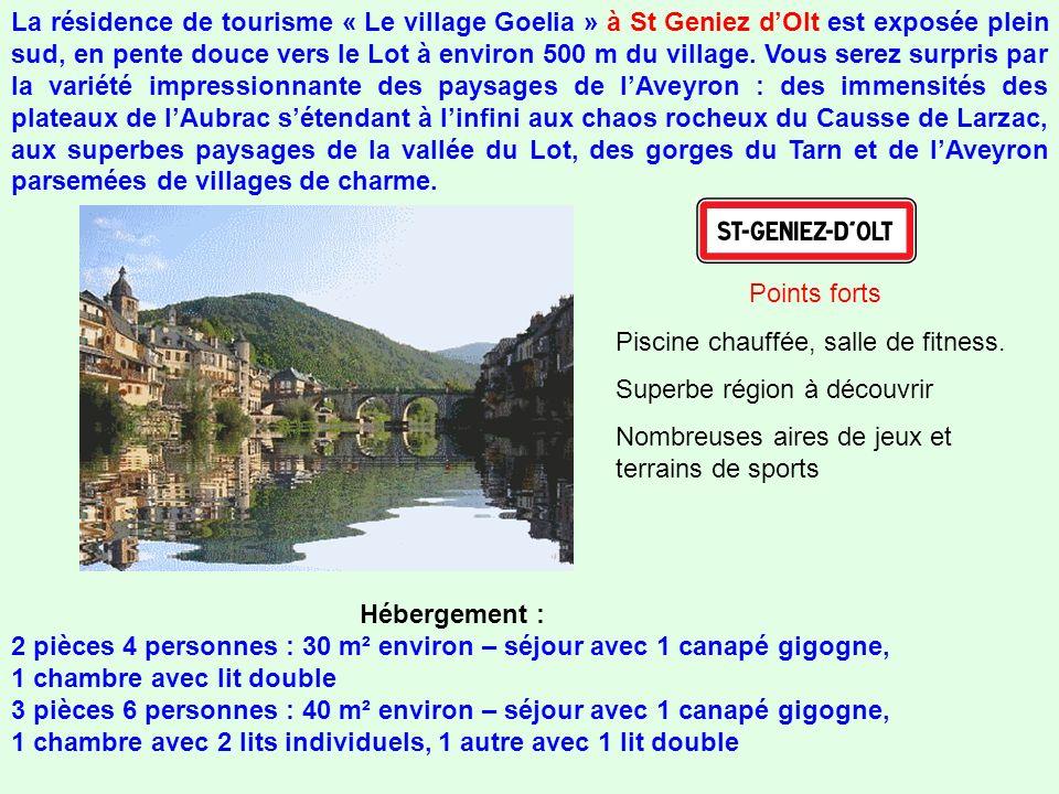 La résidence de tourisme « Le village Goelia » à St Geniez dOlt est exposée plein sud, en pente douce vers le Lot à environ 500 m du village.
