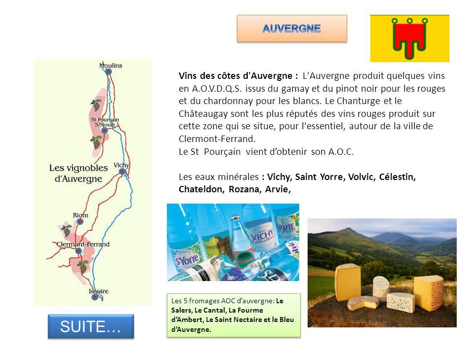 Vins des côtes d'Auvergne : L'Auvergne produit quelques vins en A.O.V.D.Q.S. issus du gamay et du pinot noir pour les rouges et du chardonnay pour les