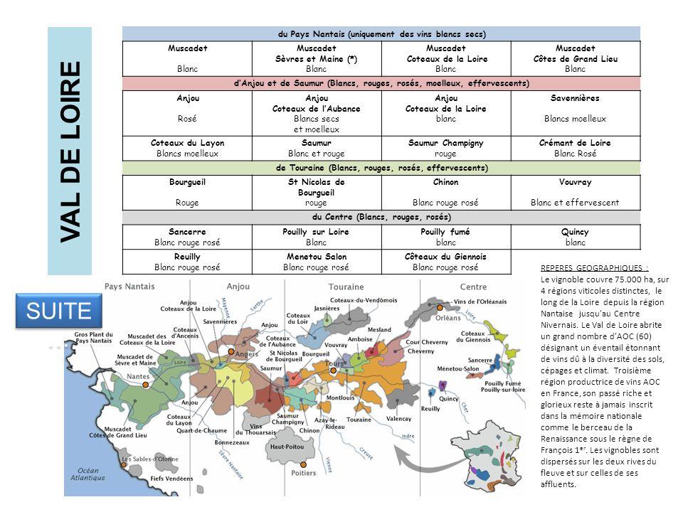 VAL DE LOIRE du Pays Nantais (uniquement des vins blancs secs) Muscadet Blanc Muscadet Sèvres et Maine (*) Blanc Muscadet Coteaux de la Loire Blanc Mu