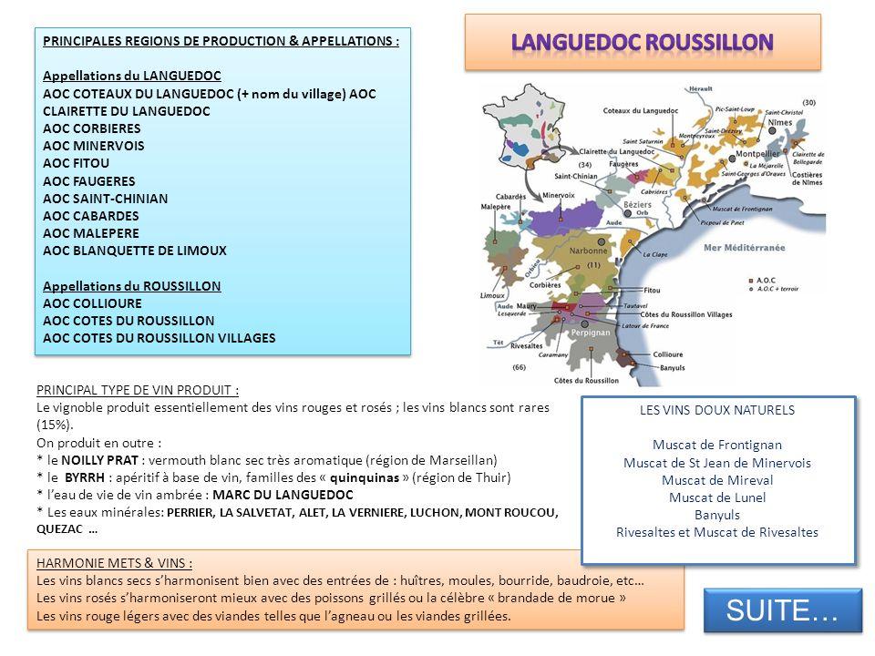 PRINCIPALES REGIONS DE PRODUCTION & APPELLATIONS : Appellations du LANGUEDOC AOC COTEAUX DU LANGUEDOC (+ nom du village) AOC CLAIRETTE DU LANGUEDOC AO