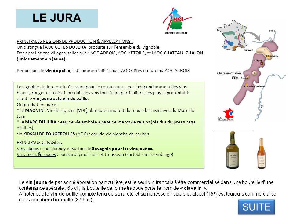 LE JURA PRINCIPALES REGIONS DE PRODUCTION & APPELLATIONS : On distingue lAOC COTES DU JURA produite sur lensemble du vignoble, Des appellations villag