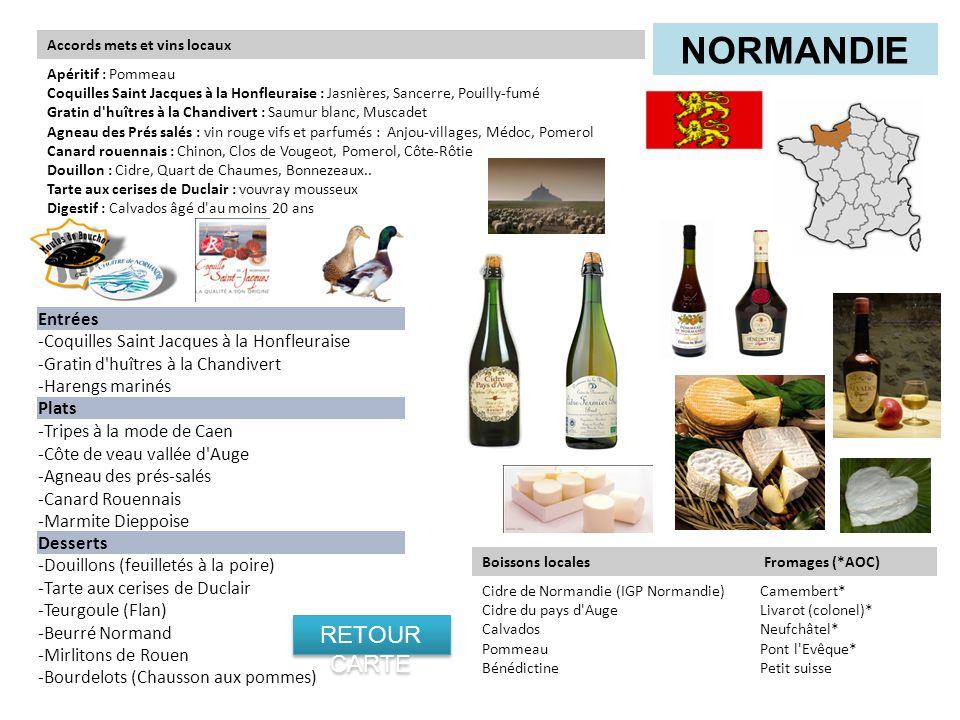 Entrées -Coquilles Saint Jacques à la Honfleuraise -Gratin d'huîtres à la Chandivert -Harengs marinés Plats -Tripes à la mode de Caen -Côte de veau va