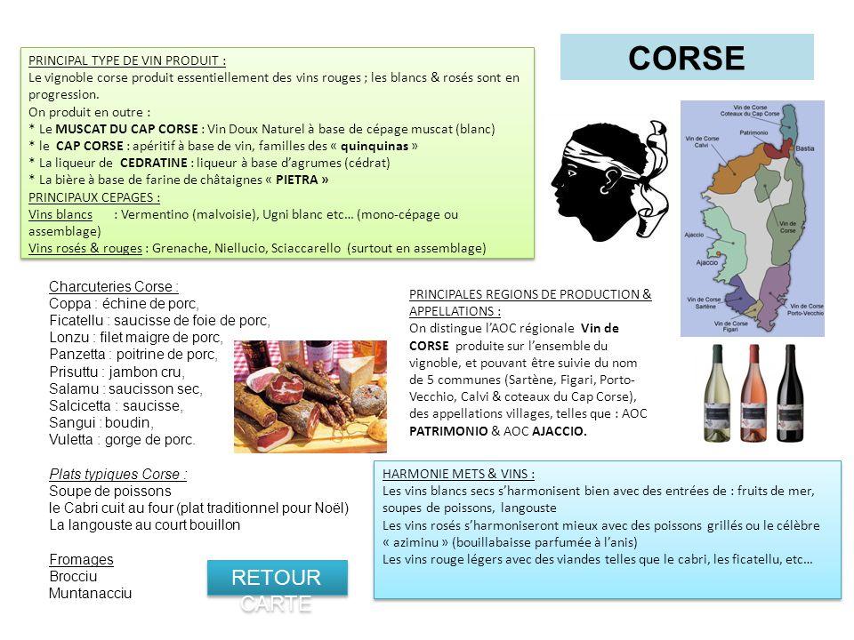 CORSE PRINCIPALES REGIONS DE PRODUCTION & APPELLATIONS : On distingue lAOC régionale Vin de CORSE produite sur lensemble du vignoble, et pouvant être