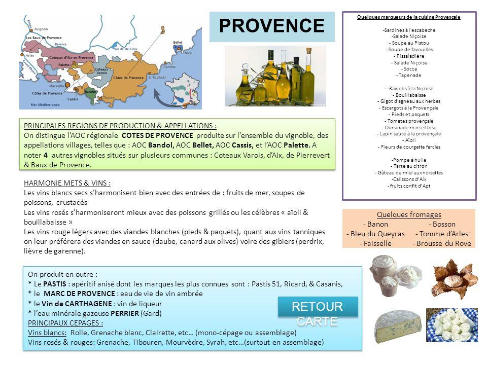 PROVENCE PRINCIPALES REGIONS DE PRODUCTION & APPELLATIONS : On distingue lAOC régionale COTES DE PROVENCE produite sur lensemble du vignoble, des appe