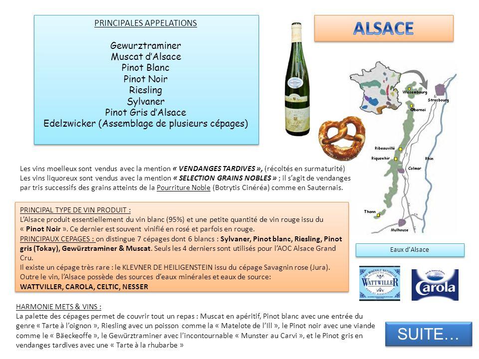 PRINCIPAL TYPE DE VIN PRODUIT : LAlsace produit essentiellement du vin blanc (95%) et une petite quantité de vin rouge issu du « Pinot Noir ». Ce dern