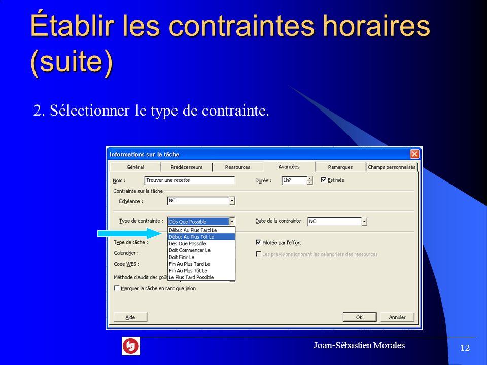 Joan-Sébastien Morales 11 Établir les contraintes horaires Exemple: On veut débuter la tâche « Trouver une recette » seulement le lundi 17 septembre.