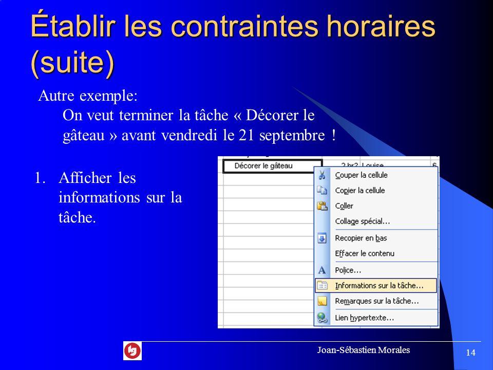 Joan-Sébastien Morales 13 Établir les contraintes horaires (suite) 3. Sélectionner la date de la contrainte. (NC signifie pas de contrainte)