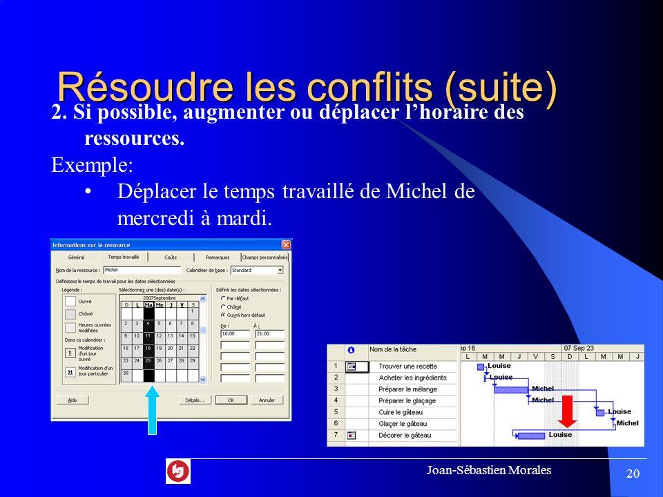 Joan-Sébastien Morales 19 Résoudre les conflits 1. Si possible, modifier laffectation des ressources. Exemple: Affecter la tâche « Trouver une recette