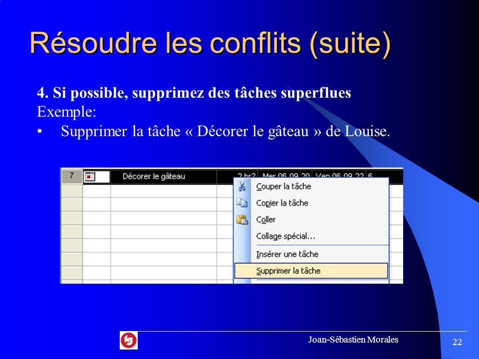 Joan-Sébastien Morales 21 Résoudre les conflits (suite) 3. Si possible, diminuez le nombre dheures estimés Exemples: La tâche « Préparer le mélange »