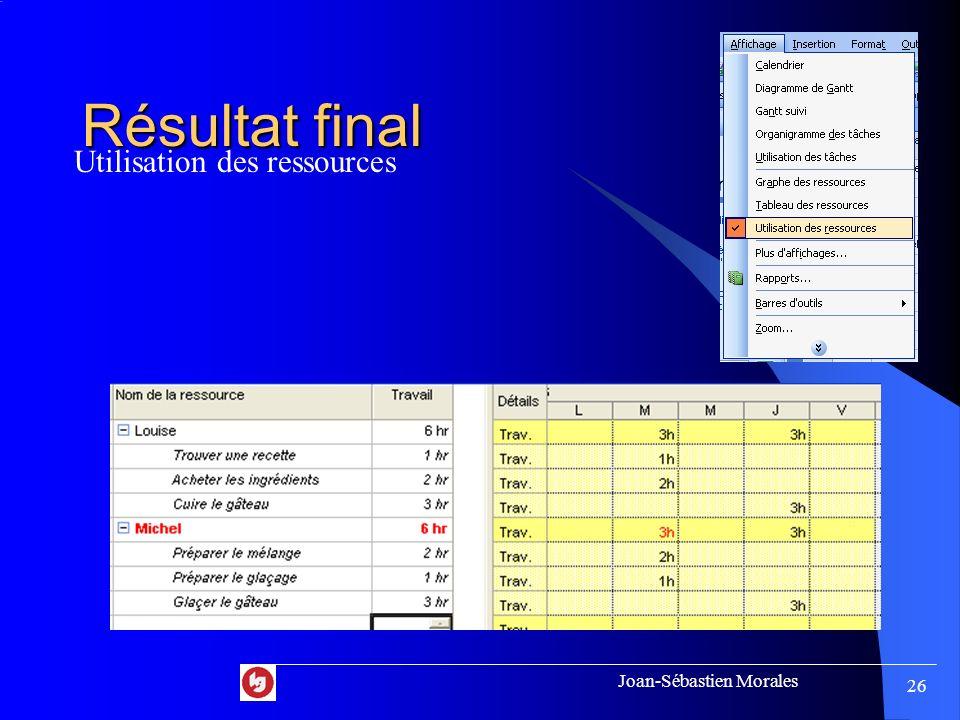 Joan-Sébastien Morales 25 Résultat final Diagramme de Gantt
