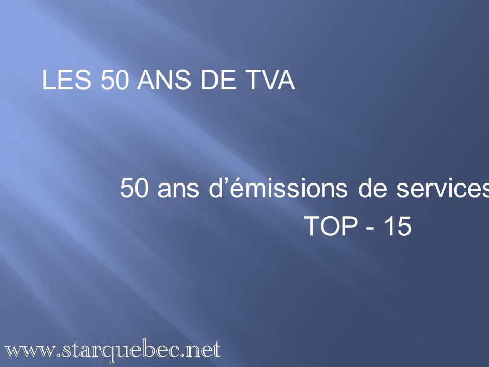LES 50 ANS DE TVA 50 ans démissions de services TOP - 15