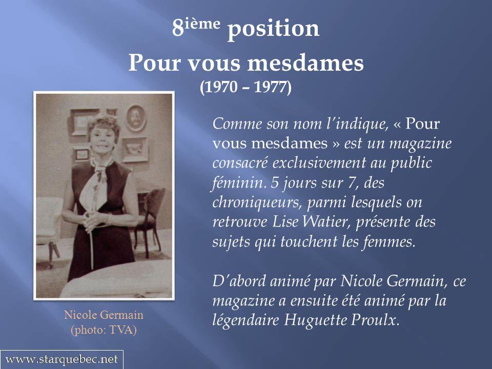 Pour vous mesdames (1970 – 1977) 8 ième position Comme son nom lindique, « Pour vous mesdames » est un magazine consacré exclusivement au public fémin