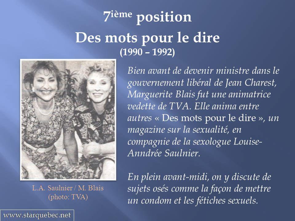 Des mots pour le dire (1990 – 1992) 7 ième position Bien avant de devenir ministre dans le gouvernement libéral de Jean Charest, Marguerite Blais fut