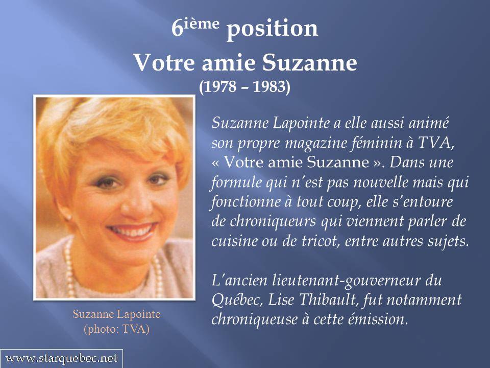 Votre amie Suzanne (1978 – 1983) 6 ième position Suzanne Lapointe a elle aussi animé son propre magazine féminin à TVA, « Votre amie Suzanne ». Dans u