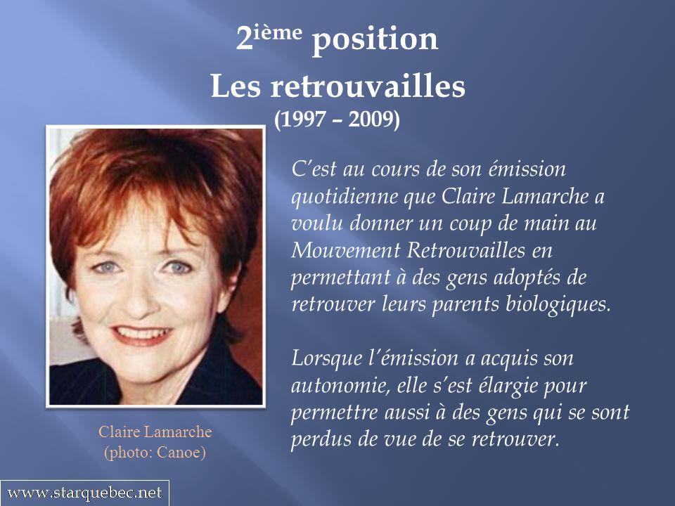 Les retrouvailles (1997 – 2009) 2 ième position Cest au cours de son émission quotidienne que Claire Lamarche a voulu donner un coup de main au Mouvem