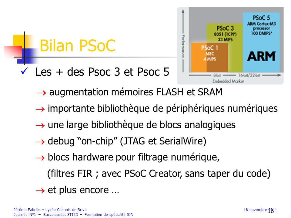 Les + des Psoc 3 et Psoc 5 augmentation mémoires FLASH et SRAM importante bibliothèque de périphériques numériques une large bibliothèque de blocs analogiques debug on-chip (JTAG et SerialWire) blocs hardware pour filtrage numérique, (filtres FIR ; avec PSoC Creator, sans taper du code) et plus encore … Bilan PSoC Jérôme Fabriès – Lycée Cabanis de Brive18 novembre 2011 Journée N°1 – Baccalauréat STI2D – Formation de spécialité SIN 16
