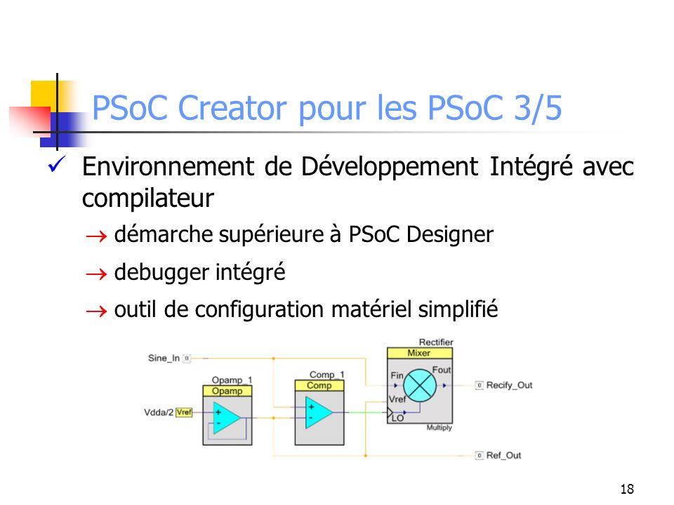 PSoC Creator pour les PSoC 3/5 Environnement de Développement Intégré avec compilateur démarche supérieure à PSoC Designer debugger intégré outil de configuration matériel simplifié 18
