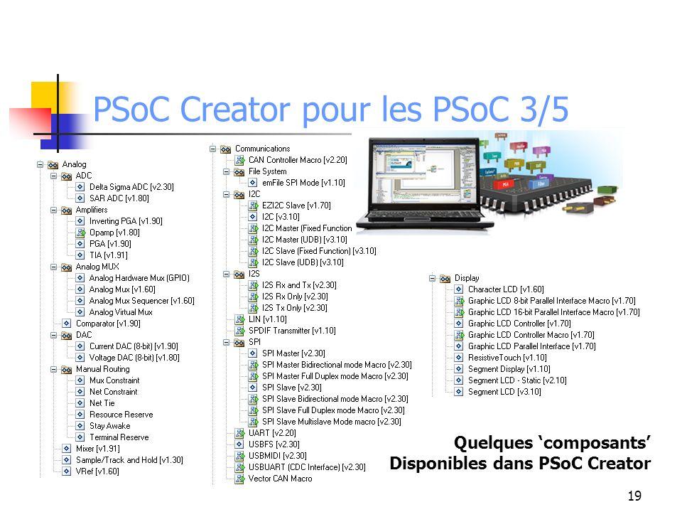 PSoC Creator pour les PSoC 3/5 19 Quelques composants Disponibles dans PSoC Creator