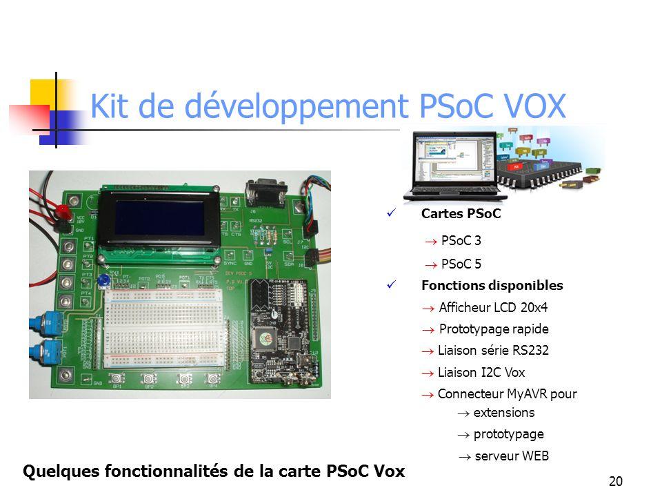 Kit de développement PSoC VOX 20 Quelques fonctionnalités de la carte PSoC Vox Cartes PSoC PSoC 3 PSoC 5 Fonctions disponibles Afficheur LCD 20x4 Prototypage rapide Liaison série RS232 Liaison I2C Vox Connecteur MyAVR pour extensions prototypage serveur WEB