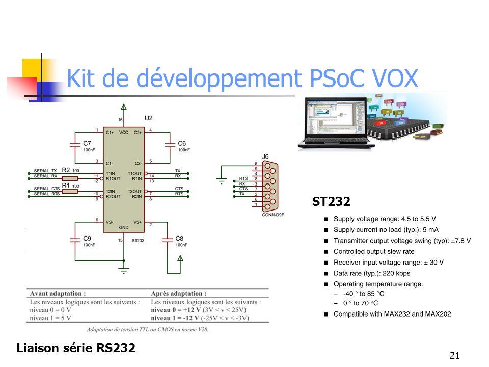 Kit de développement PSoC VOX 21 Liaison série RS232 ST232