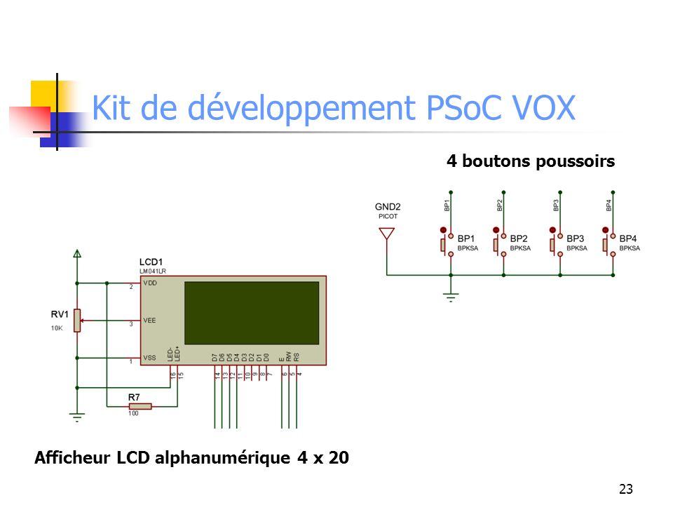 23 Kit de développement PSoC VOX Afficheur LCD alphanumérique 4 x 20 4 boutons poussoirs