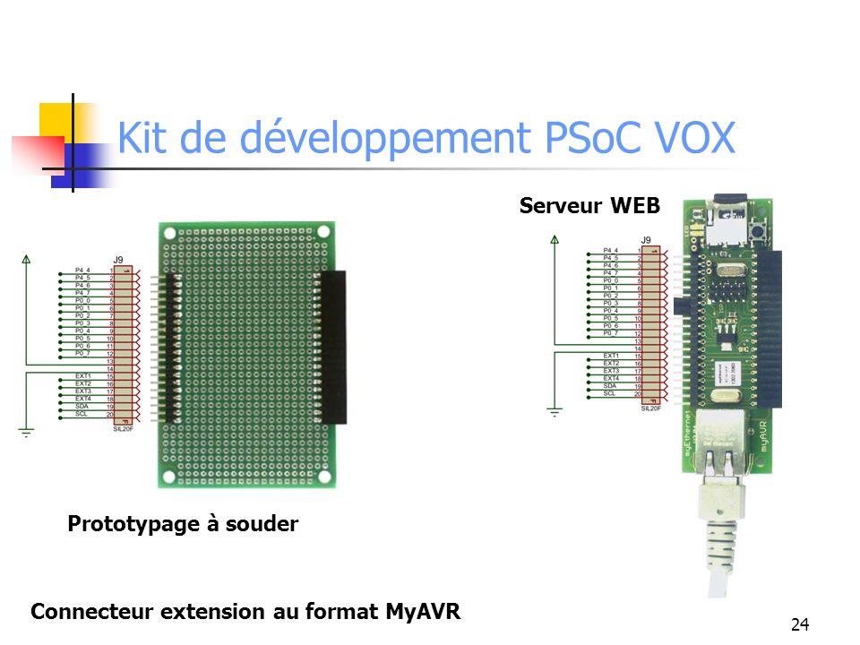 24 Kit de développement PSoC VOX Connecteur extension au format MyAVR Prototypage à souder Serveur WEB